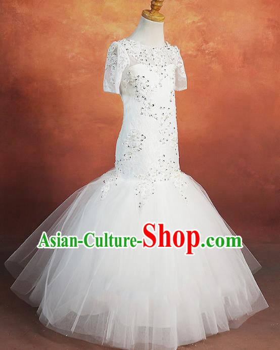 Top Grade Stage Performance Costumes Baroque Princess White Dress Modern Fancywork Full Dress for Kids