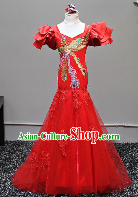 Top Grade Stage Performance Costumes China Style Catwalks Cheongsam Dress Modern Fancywork Full Dress for Kids