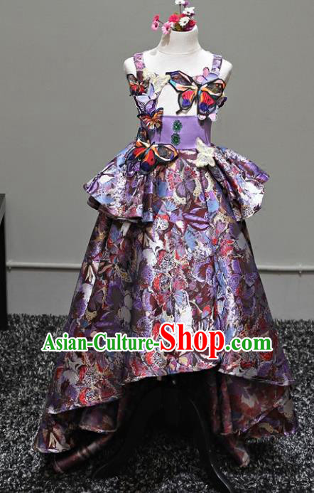 Top Grade Stage Performance Costumes Catwalks Purple Dress Modern Fancywork Full Dress for Kids