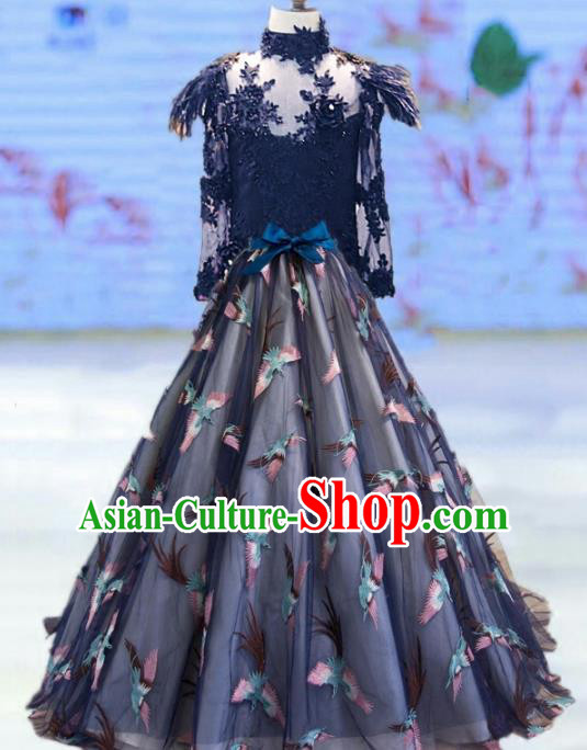 Top Grade Stage Performance Costumes Catwalks Navy Long Dress Modern Fancywork Full Dress for Kids