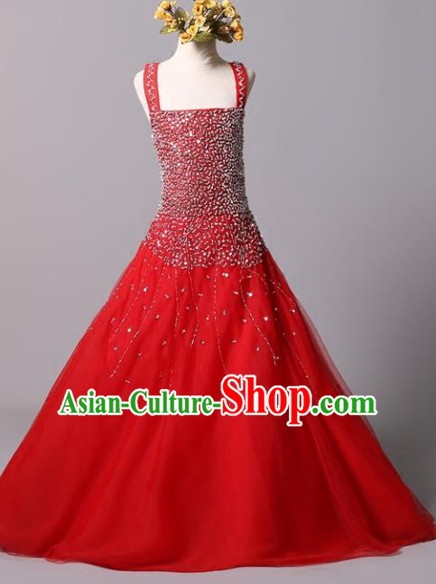 Top Grade Stage Performance Costumes Catwalks Beading Red Dress Modern Fancywork Full Dress for Kids