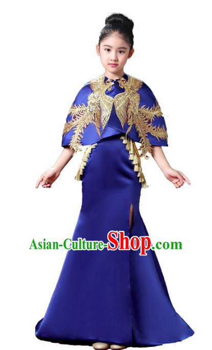 Top Grade Stage Performance Costumes Compere Royalblue Cheongsam Modern Fancywork Full Dress for Kids