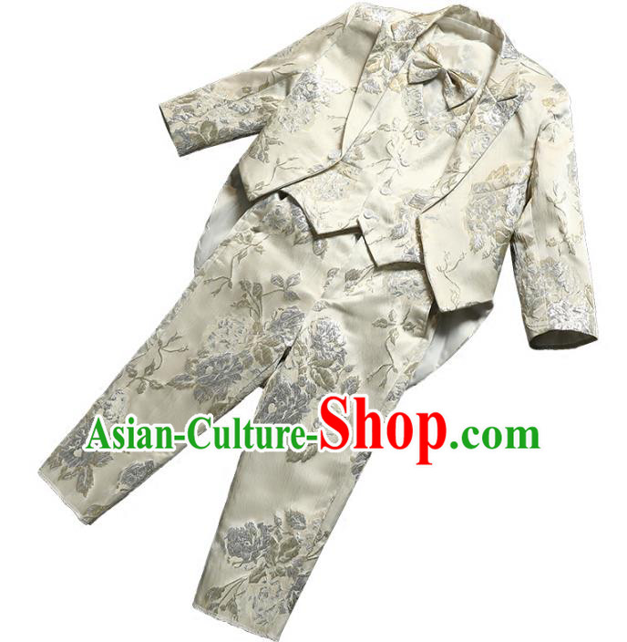 Top Grade Stage Performance Costumes Children Compere White Suits Modern Fancywork Clothing for Kids
