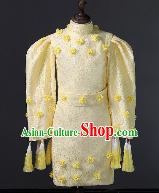 Top Grade Compere Costumes Children Stage Performance Yellow Dress Modern Fancywork Full Dress for Kids