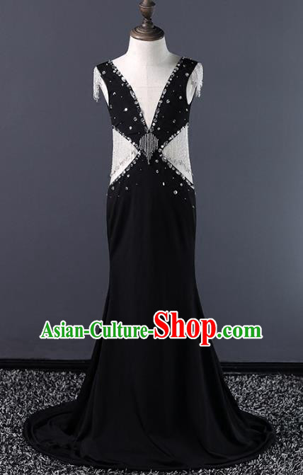 Top Grade Compere Costumes Children Black Evening Dress Modern Fancywork Full Dress for Kids