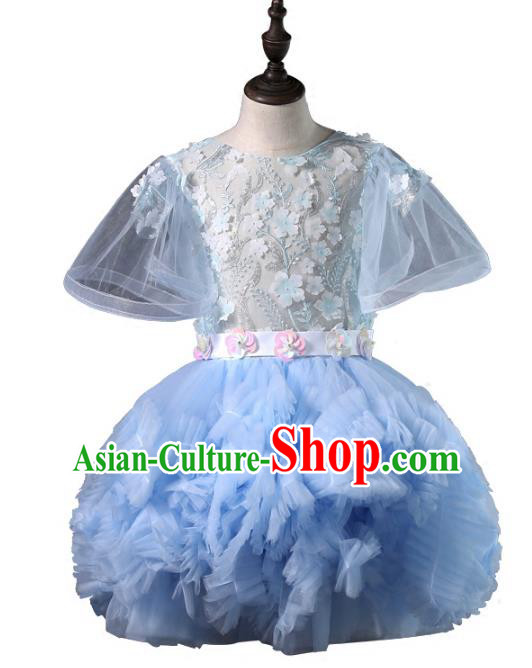 Top Grade Compere Costumes Children Blue Bubble Dress Modern Fancywork Full Dress for Kids