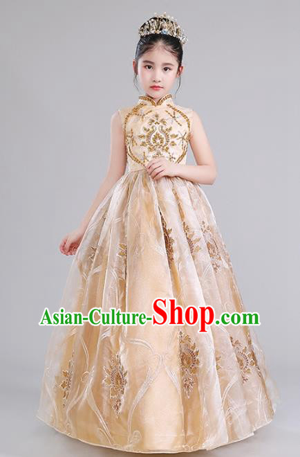 Top Grade Compere Costumes Children Golden Princess Dress Modern Fancywork Full Dress for Kids