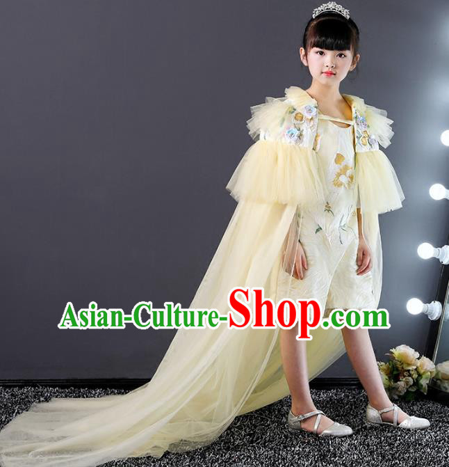 Top Grade Compere Costumes Children Yellow Veil Mullet Dress Modern Fancywork Full Dress for Kids