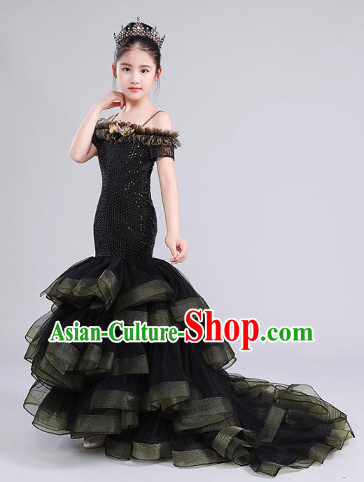 Top Grade Compere Costumes Children Black Veil Mermaid Dress Modern Fancywork Full Dress for Kids