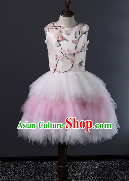 Top Grade Compere Costumes Children Bubble Dress Modern Fancywork Full Dress for Kids