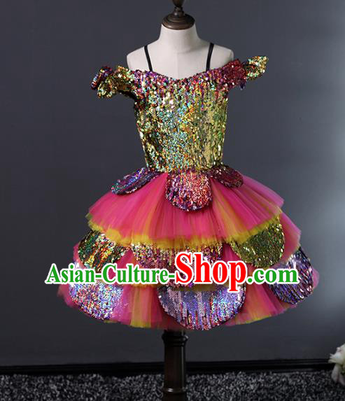 Top Grade Compere Costumes Children Rosy Veil Bubble Dress Modern Fancywork Full Dress for Kids