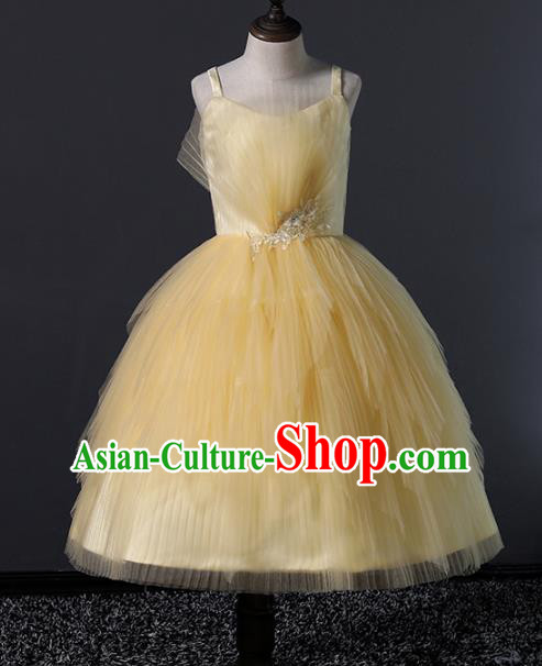 Top Grade Compere Costumes Children Yellow Veil Bubble Dress Modern Fancywork Full Dress for Kids