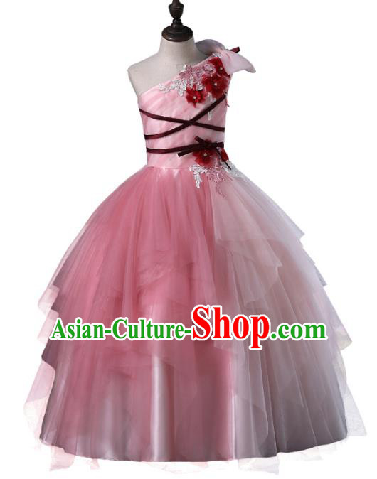 Top Grade Compere Costumes Children Pink Veil Dress Princess Dress Modern Fancywork Full Dress for Kids