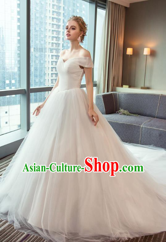 Top Grade Advanced Customization Wedding Dress Veil Bridal Full Dress Princess Dress Wedding Gown Costume for Women