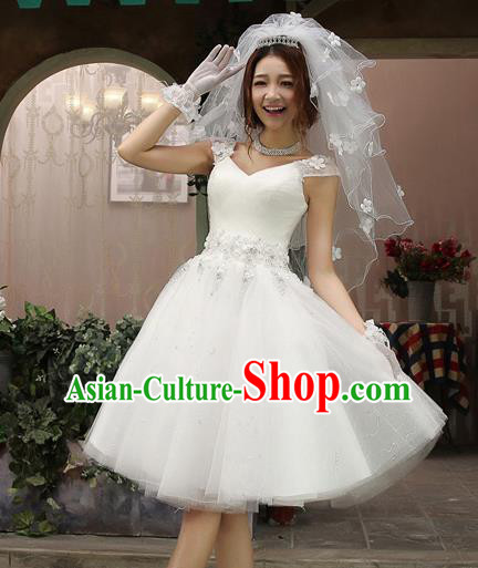 Top Grade Advanced Customization Wedding Dress Bridal Veil Short Dress Princess Dress Wedding Gown Costume for Women