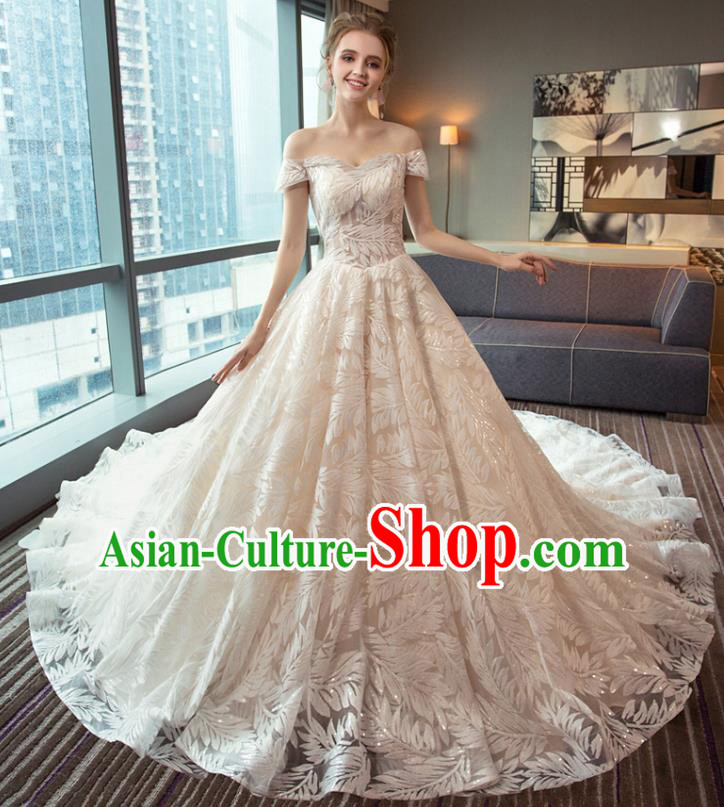 Top Grade Advanced Customization Tail Wedding Dress Bridal Veil Wedding Gown Costume for Women