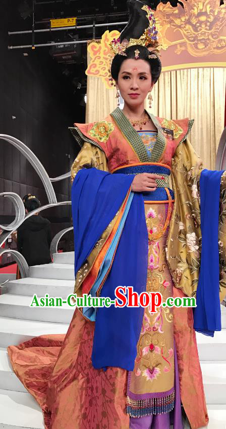 Chinese Ancient Tang Dynasty Princess Royal Taiping Embroidered Costumes Hanfu Dress for Women