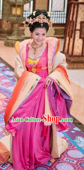 Ancient Chinese Tang Dynasty Imperial Concubine Zheng Embroidered Costumes Hanfu Dress for Women