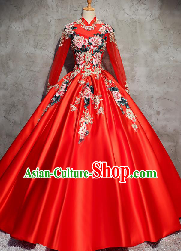 Top Grade Advanced Customization Red Embroidered Satin Dress Wedding Dress Compere Bridal Full Dress for Women
