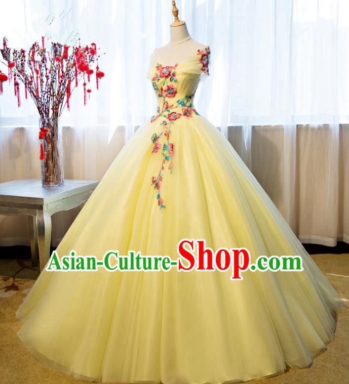 Top Grade Advanced Customization Yellow Veil Bubble Dress Wedding Dress Compere Bridal Full Dress for Women