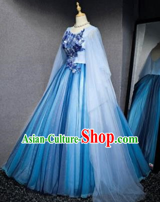 Top Grade Advanced Customization Blue Veil Dress Wedding Dress Compere Bridal Full Dress for Women