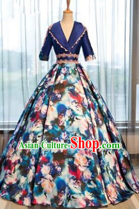 Top Grade Advanced Customization Printing Blue Dress Wedding Dress Compere Bridal Full Dress for Women