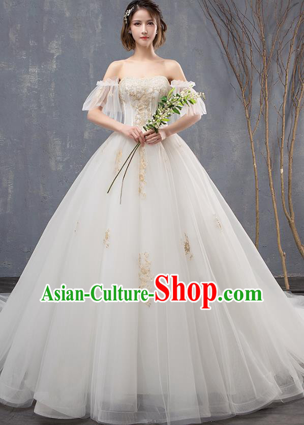 Top Grade Advanced Customization Mullet Dress Wedding Dress Compere Bridal Full Dress for Women