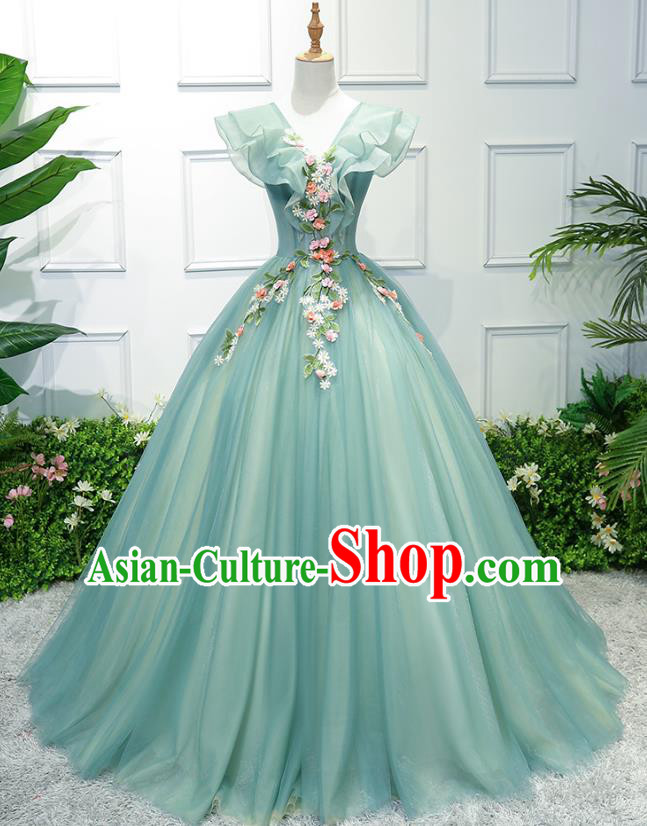 Top Grade Advanced Customization Green Veil Bubble Dress Wedding Dress Compere Bridal Full Dress for Women