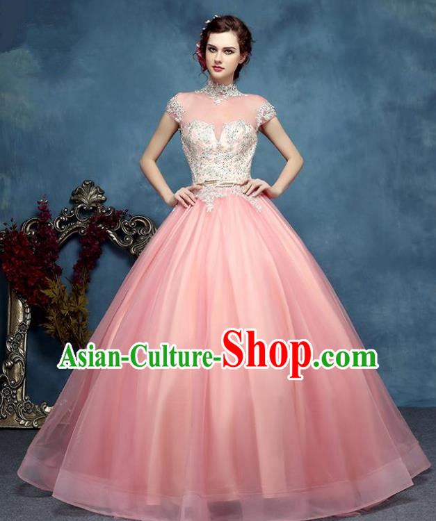Top Grade Advanced Customization Pink Bubble Dress Wedding Dress Compere Bridal Full Dress for Women