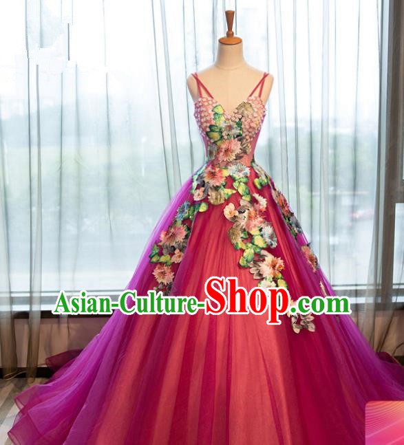 Top Grade Advanced Customization Rosy Veil Mullet Dress Wedding Dress Compere Bridal Full Dress for Women
