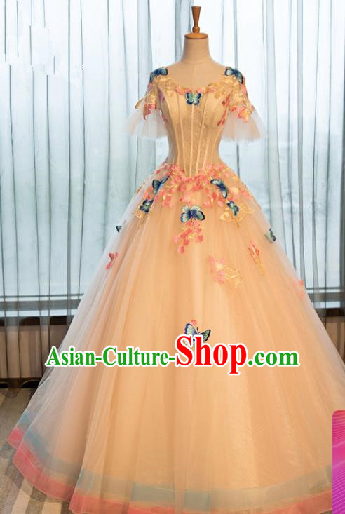 Top Grade Advanced Customization Embroidered Butterfly Veil Dress Wedding Dress Compere Bridal Full Dress for Women