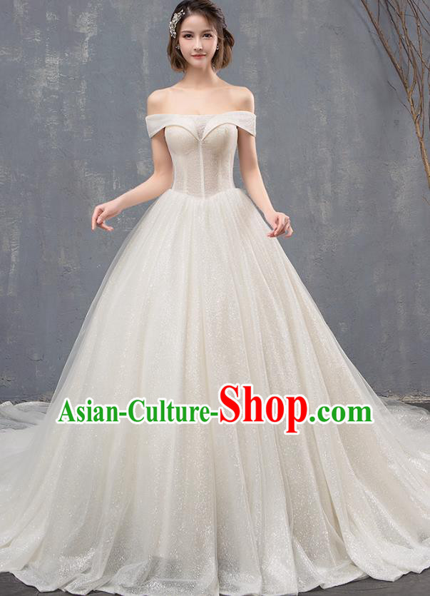 Top Grade Advanced Customization Trailing Veil Dress Wedding Dress Compere Bridal Full Dress for Women