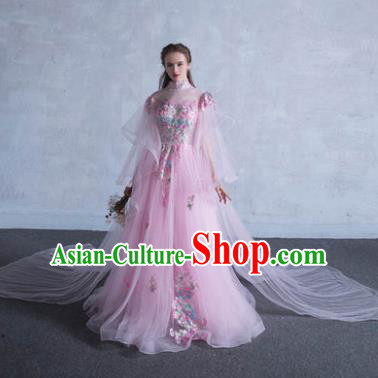 Top Grade Advanced Customization Pink Trailing Veil Dress Wedding Dress Compere Bridal Full Dress for Women