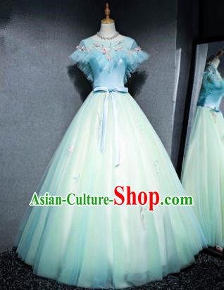 Top Grade Advanced Customization Green Veil Evening Dress Wedding Dress Compere Bridal Full Dress for Women