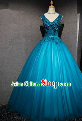 Top Grade Advanced Customization Blue Veil Evening Dress Wedding Dress Compere Bridal Full Dress for Women