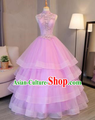 Top Grade Advanced Customization Evening Dress Pink Layered Wedding Dress Compere Bridal Full Dress for Women