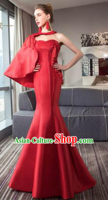 Top Grade Advanced Customization Single Shoulder Mermaid Evening Dress Red Satin Wedding Dress Compere Bridal Full Dress for Women