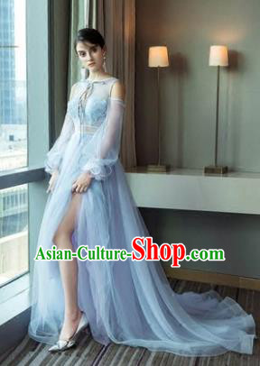 Top Grade Advanced Customization Blue Evening Dress Trailing Wedding Dress Compere Bridal Full Dress for Women