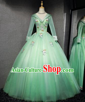 Top Grade Advanced Customization Evening Dress Green Veil Wedding Dress Compere Bridal Full Dress for Women
