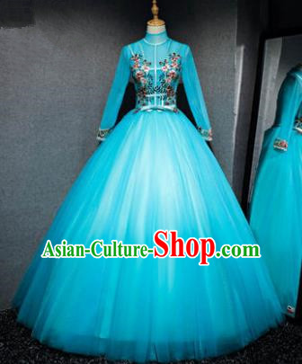 Top Grade Advanced Customization Evening Dress Blue Veil Wedding Dress Compere Bridal Full Dress for Women