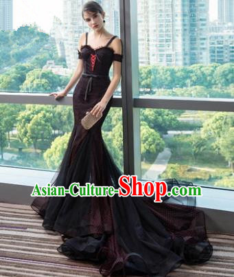 Top Grade Evening Dress Advanced Customization Black Veil Wedding Dress Compere Bridal Full Dress for Women
