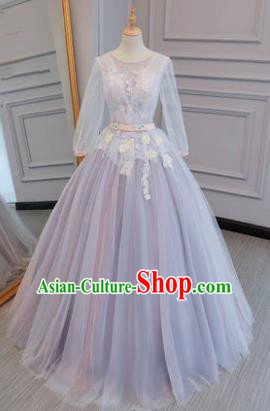 Top Grade Evening Dress Advanced Customization Purple Veil Wedding Dress Compere Bridal Full Dress for Women
