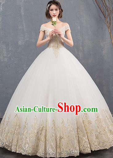 Top Grade Wedding Costume Compere Evening Dress Advanced Customization Embroidered Bubble Dress Bridal Full Dress for Women