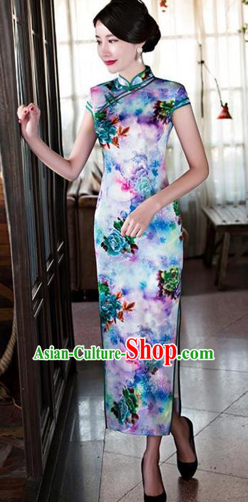 Top Grade Chinese Printing Lilac Silk Qipao Dress National Costume Traditional Mandarin Cheongsam for Women