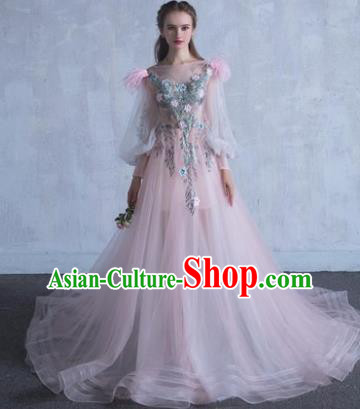 Top Grade Wedding Costume Compere Evening Dress Pink Veil Mullet Dress Bridal Full Dress for Women