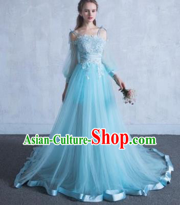 Top Grade Wedding Costume Compere Evening Dress Blue Veil Mullet Dress Bridal Full Dress for Women