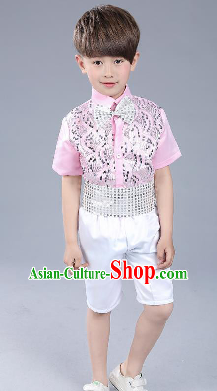 Top Grade Boys Chorus Sequins Costumes Children Compere Modern Dance Pink Clothing for Kids