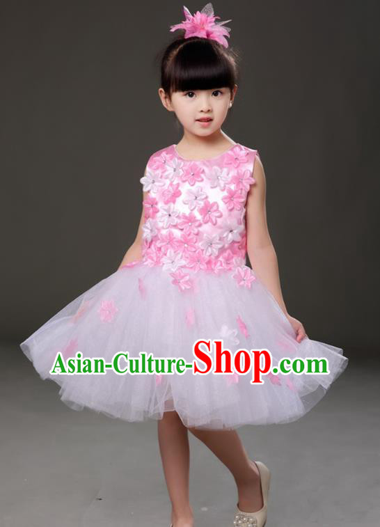 Top Grade Chorus Costumes Children Modern Dance Pink Flowers Bubble Dress for Kids