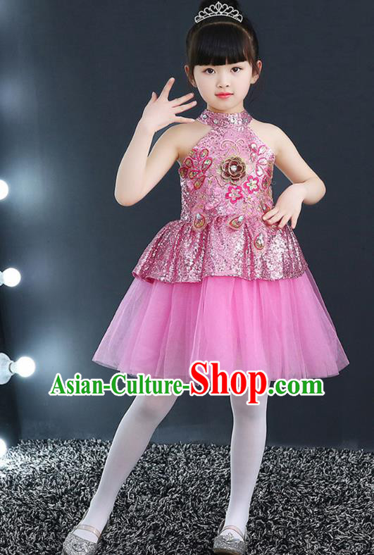 Top Grade Chorus Costumes Children Modern Dance Pink Sequin Bubble Dress for Kids