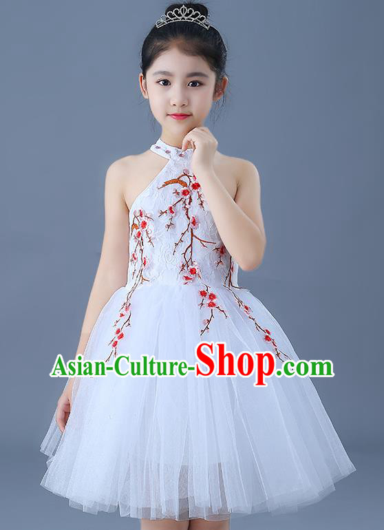 Top Grade Chorus Costumes Children Modern Dance Embroidered Red Plum Blossom Bubble Dress for Kids